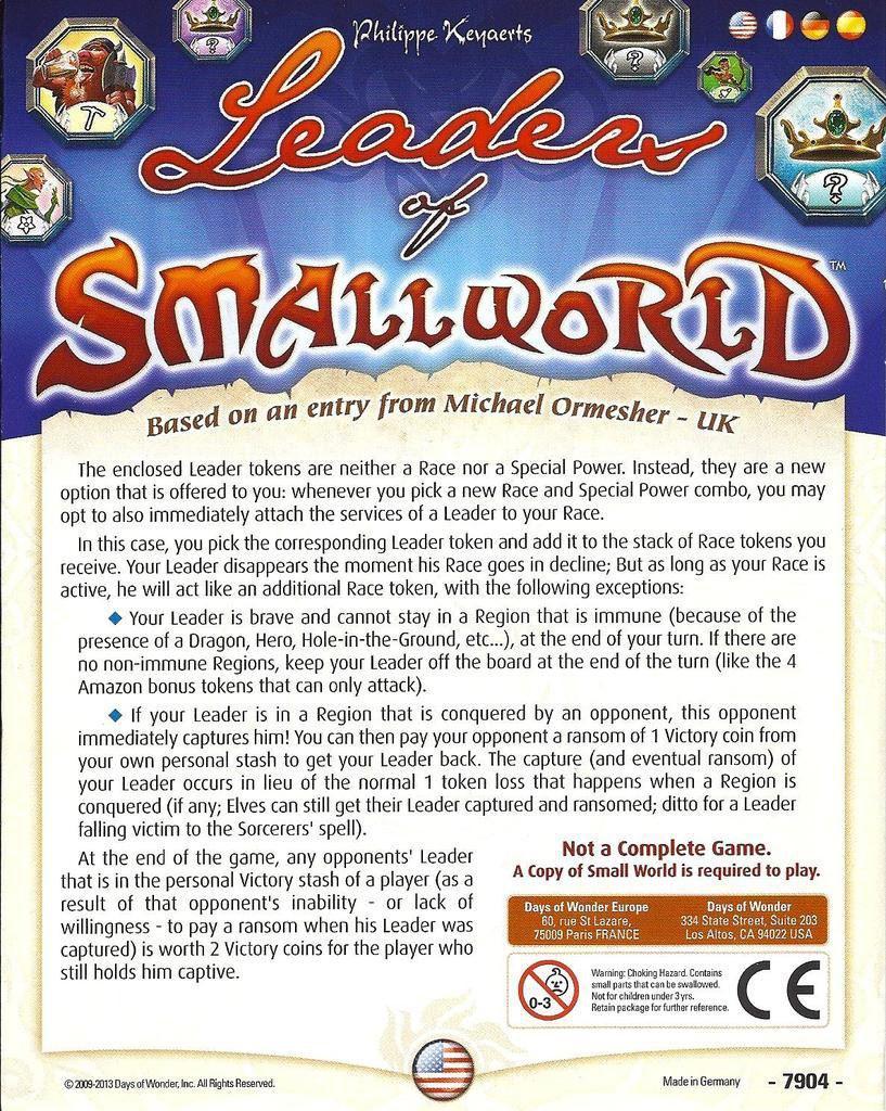 Настольная игра: SmallWorld: Leaders