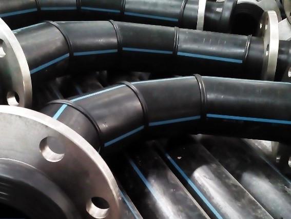 Отвод 90° сварной ПЭ100 SDR26 Ду225 (4-х секц.)
