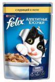 Felix, Курица в желе Феликс Влажный корм кусочки для кошек, 85г