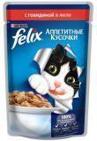 Felix, с говядиной в желе Феликс Влажный корм кусочки для кошек, 85г