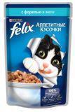 Felix, с Форелью Феликс Влажный корм кусочки (Пауч) для кошек, 85г, фото 1