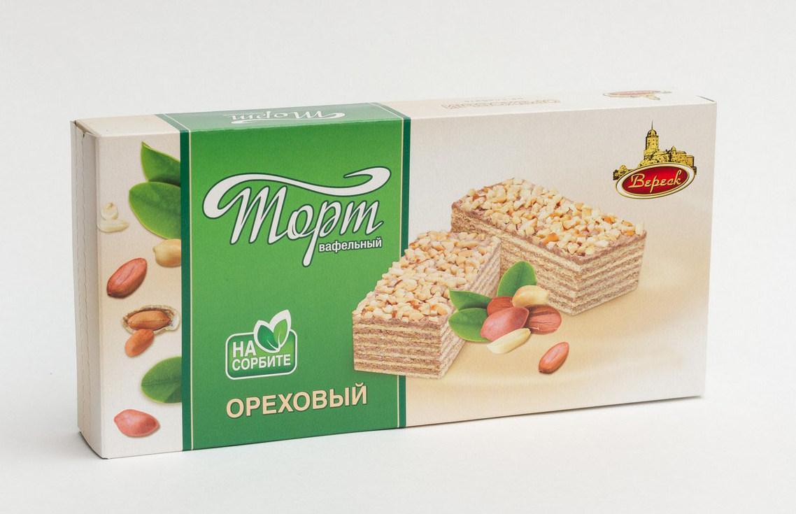 """Торт вафельный Старый Замок """"Ореховый"""" на сорбите 220г"""