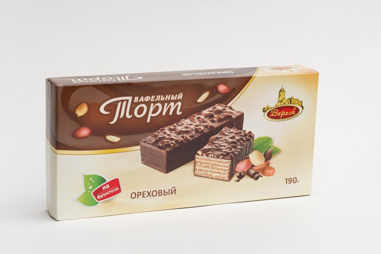 Торт глазированный на фруктозе Ореховый 190г.