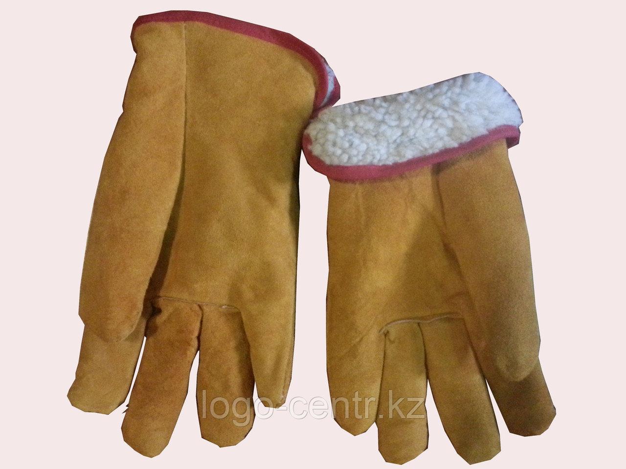 Перчатки спилковые, мех искусственный