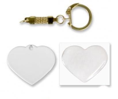 Брелок сердце металл 40х33мм (с линзой и цепочкой)