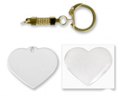 Брелок сердце металл 40х33мм (с линзой и цепочкой), фото 2
