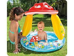 """Детский бассейн """"Грибок"""" с надувным дном и навесом, Intex 57114"""