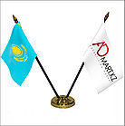 Флагшток настольный двухрожковый утяжеленный ЗОЛОТОЙ, фото 5