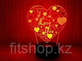 3D Ночник LOVE (Отличный подарок на 14 февраля День всех влюбленных)