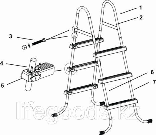 Лестница для бассейна высотой борта от 76 см до 91 см, Intex 28060 - фото 7