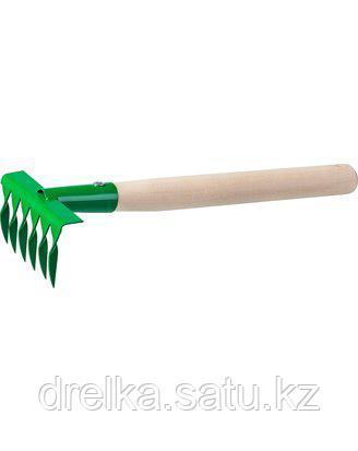 Грабельки витые РОСТОК 39611, садовые с деревянной ручкой, 6 витых зубцов