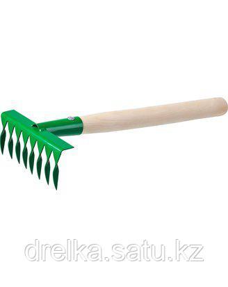 Грабельки витые РОСТОК 39613, садовые с деревянной ручкой, 8 витых зубцов