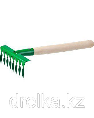Грабельки витые РОСТОК 39613, садовые с деревянной ручкой, 8 витых зубцов , фото 2