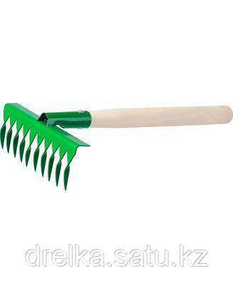 Грабельки витые РОСТОК 39614, садовые с деревянной ручкой, 10 витых зубцов
