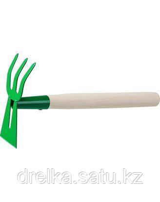 Тяпка мотыга РОСТОК 39627, с деревянной ручкой, лопатка, рыхлитель 3 зуба, гнутая