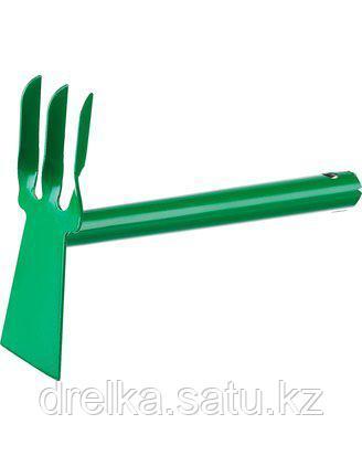 Тяпка мотыга РОСТОК 421424, с металлической ручкой, лопатка, рыхлитель 3 зуба, ширина рабочей части - 60 мм