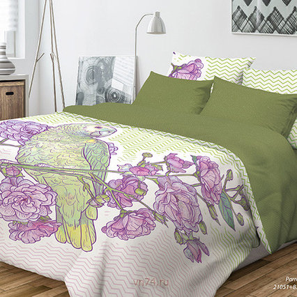 Комплект постельного белья, попугай