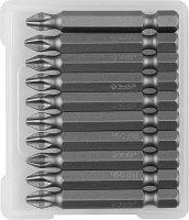 """Биты ЗУБР """"МАСТЕР"""" кованые, хромомолибденовая сталь, тип хвостовика E 1/4"""", PH2, 50мм, 10шт"""