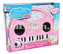 Детское интерактивное пианино с 3 режимами розовое 9016