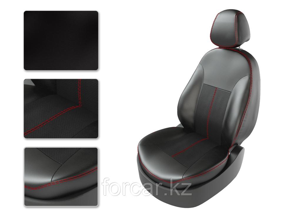 Чехлы модельные SKODA RAPID 2015 делимая спинка черный/черный/красный