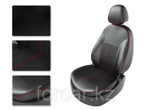 Чехлы модельные SKODA RAPID 2015 делимая спинка черный/черный/красный, фото 2