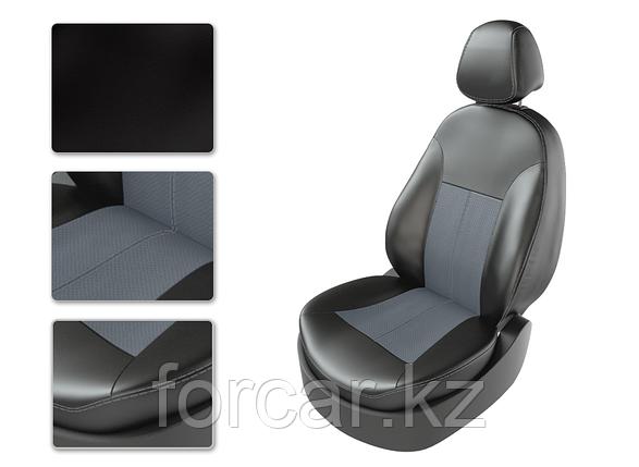 Чехлы модельные VW POLO SD разд черный/замш св.серый/серый, фото 2