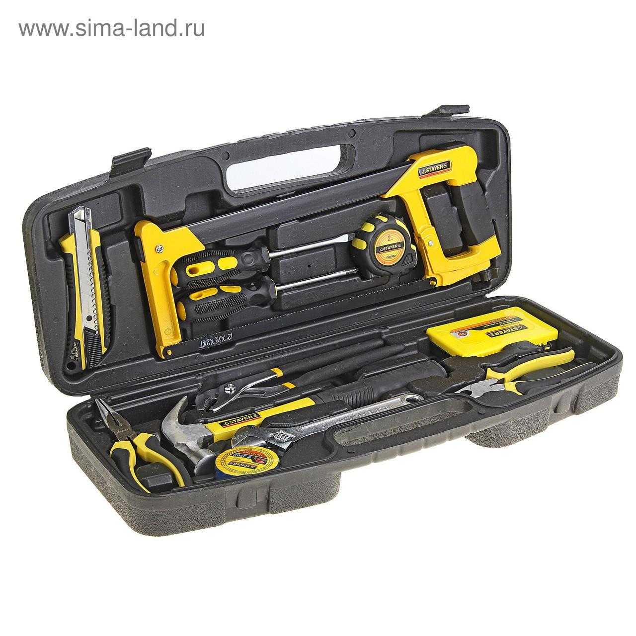 """(22053-H13) Набор инструментов STAYER """"STANDARD"""" МАСТЕР для ремонтных работ, 13 предметов"""