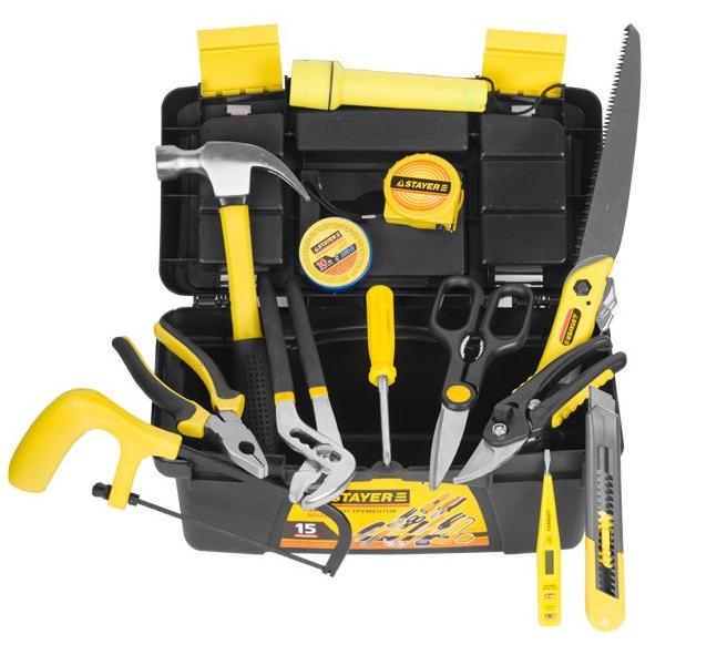 """(22054-H15) Набор инструментов STAYER """"STANDARD"""" ХОЗЯИН для ремонтных работ, в ящике, 15 предметов"""