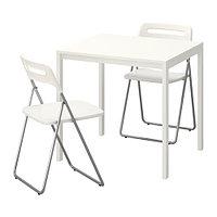 Стол и 2 складных стула МЕЛЬТОРП / НИССЕ белый ИКЕА, IKEA, фото 1