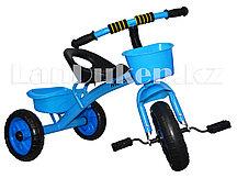 Детский трехколесный велосипед голубой