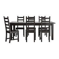 Стол раскл и 6 стульев СТУРНЭС / КАУСТБИ коричнево-чёрный ИКЕА, IKEA, фото 1