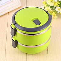 Ланч бокс для еды контейнер пищевой 2 секции (Two layers) 1,4 л зеленый