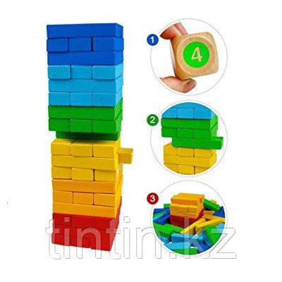 Игра Дженга Цветная 54 брусков - 29х8х8см, AcoolToy