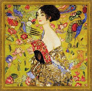 """Набор для вышивания крестом """"Дама с веером"""" по мотивам картины Г.Климта  1226"""