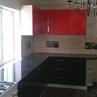 Кухонный гарнитур. Акрил. Темн. шоколад - красный