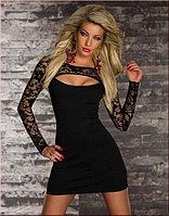 Сексуальное мини платье с длинными кружевными рукавами и Сексуальным Вырезом на груди