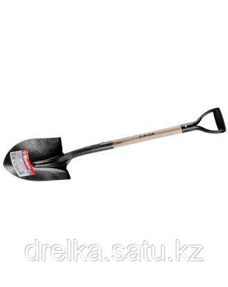 Лопата ЗУБР МАСТЕР ЗАВИДОВО автомобильная, деревянный черенок из дуба, пластиковая рукоятка, 290х210x1000мм