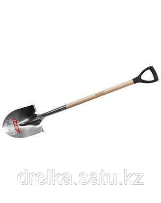 Лопата ЗУБР ЭКСПЕРТ штыковая садовая из нерж. стали, деревянный черенок из ясеня, пластиковая рукоятка, фото 2