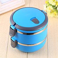 Ланч бокс для еды контейнер пищевой 2 секции (Two layers) 1,4 л голубой