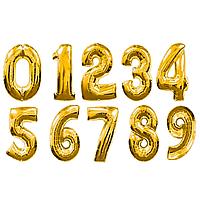 Шар надувной праздничный, цифры, золотистый, 1м.