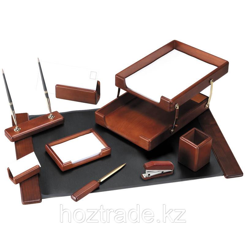 Набор руководителя настольный Delucci 9 предметов темно-коричневый орех