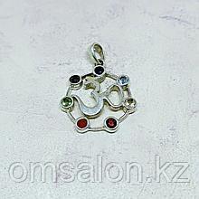 Кулон Ом из серебра с натуральными камнями по 7 чакрам