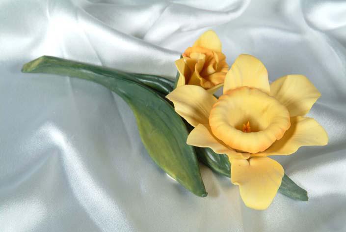 Фарфоровый цветок Нарцисс. Италия. Ручная работа