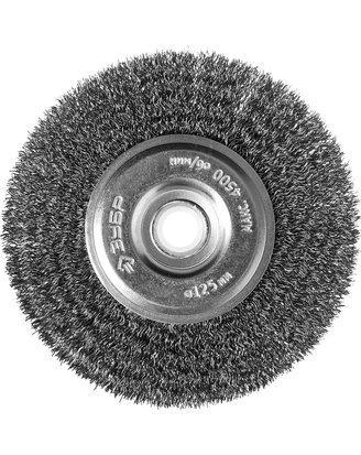 Щетка дисковая для точильно-шлифовального станка, витая стальная проволока 0,3мм, 125х12,7мм