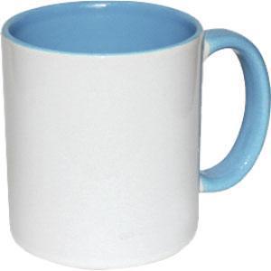 Кружка керамическая белая внутри и ручка голубая
