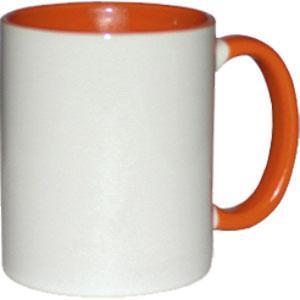 Кружка керамическая белая внутри и ручка оранжевая