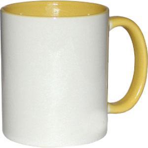 Кружка керамическая белая внутри и ручка желтая