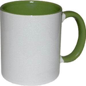 Кружка керамическая белая внутри и ручка т. зеленая
