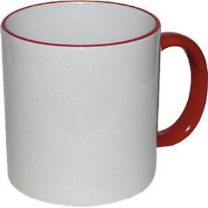 Кружка керамическая белая ободок и ручка красная