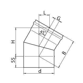 Колено Ferrum 430/0,5мм 45° Ф 120, фото 2